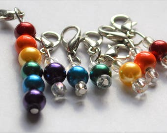 LGBT Rainbow Pride Flag Crochet Stitch Markers READY To SHIP set of seven