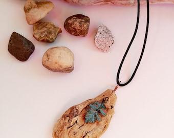 Rustic Earthy Driftwood Diffuser Necklace-Pendant-Wabi Sabi-Wearable Art-Foraged-Boho-Beach-Ocean-Jewellery-Natural-Gift-Wood-Essential Oil