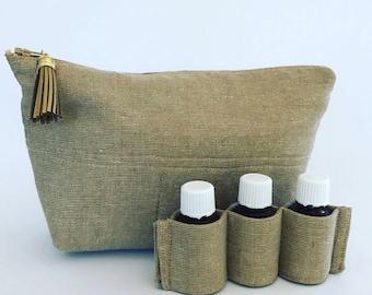 Essential Oil Carrying Case, Oil Storage, Essential Oil Holder, Oil Bag, Gold Linen, 14 Bottles