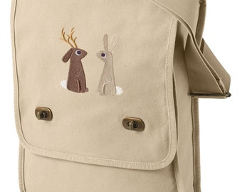 Jackalope and the Rabbit Canvas Embroided Field Bag