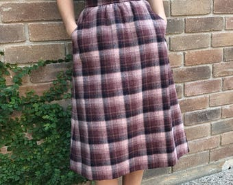 Maroon Plaid Wool Blend Long Fall Skirt with Pockets