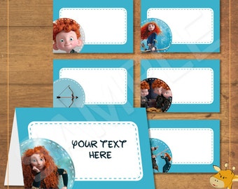 BRAVE Food Cards, Tent Card, printable, party labels - instant download - Digital File