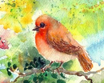 Small Original Robin Watercolor Bird Painting Tiny Bird Wall Decor, Impressionist watercolors, Bird painting gifting, Small art
