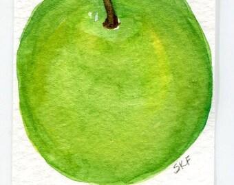 ACEO Original Apple Painting watercolor, ACEO  Farmhouse decor. Bright Green Apple art card, SharonFosterArt