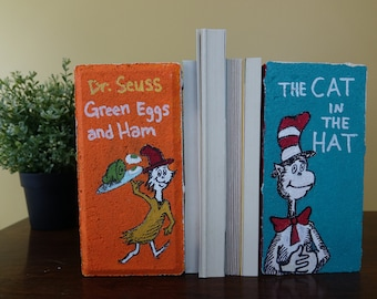 Dr. Seuss Hand-Painted Brick Bookends