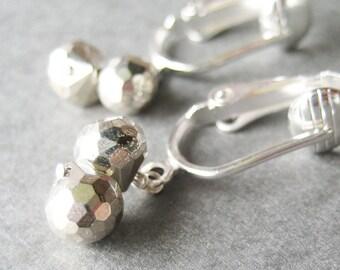 Pyrite Clip-on Earrings, Mixed Metal Earrings, Silver Ear Clips, Pale Gold Teardrops, Metallic Onion Briolette Clipons, Handmade, Rush