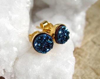 Tiny Blue Druzy Studs Titanium Drusy Quartz Gold Vermeil Bezel Set Earrings