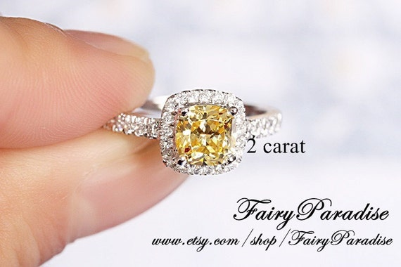 2 Carat Canary Yellow Cushion Cut Halo Promise Ring