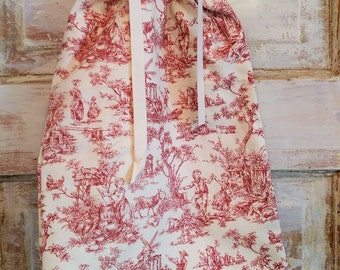 Boho Toile Bag | Bridal Shower Gifts | Drawstring Bag | Lingerie Bag | Cranberry Toile and Cream Bag |The Wild Raspberry