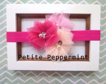 Peach Pink and Hot Pink Flowers on Hot Pink Headband - Newborn Baby Toddler Little Girl Headband Great Photo Prop