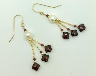 Garnet & Freshwater Pearl 14K Gold Fill Earrings #AVEN1844