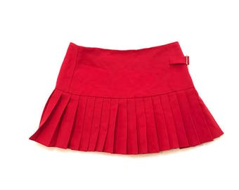 90s Red Pleated Mini Skirt