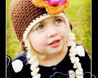 Brown Earflap Hat with detachable flower and button (fits babies to adults) (Curly Tie Hat)
