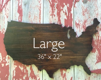 "USA Wooden Wall Decor, Wooden Map Wall Art 36"", Stained US Wood cutout, United States Large Map, USA wood decor"