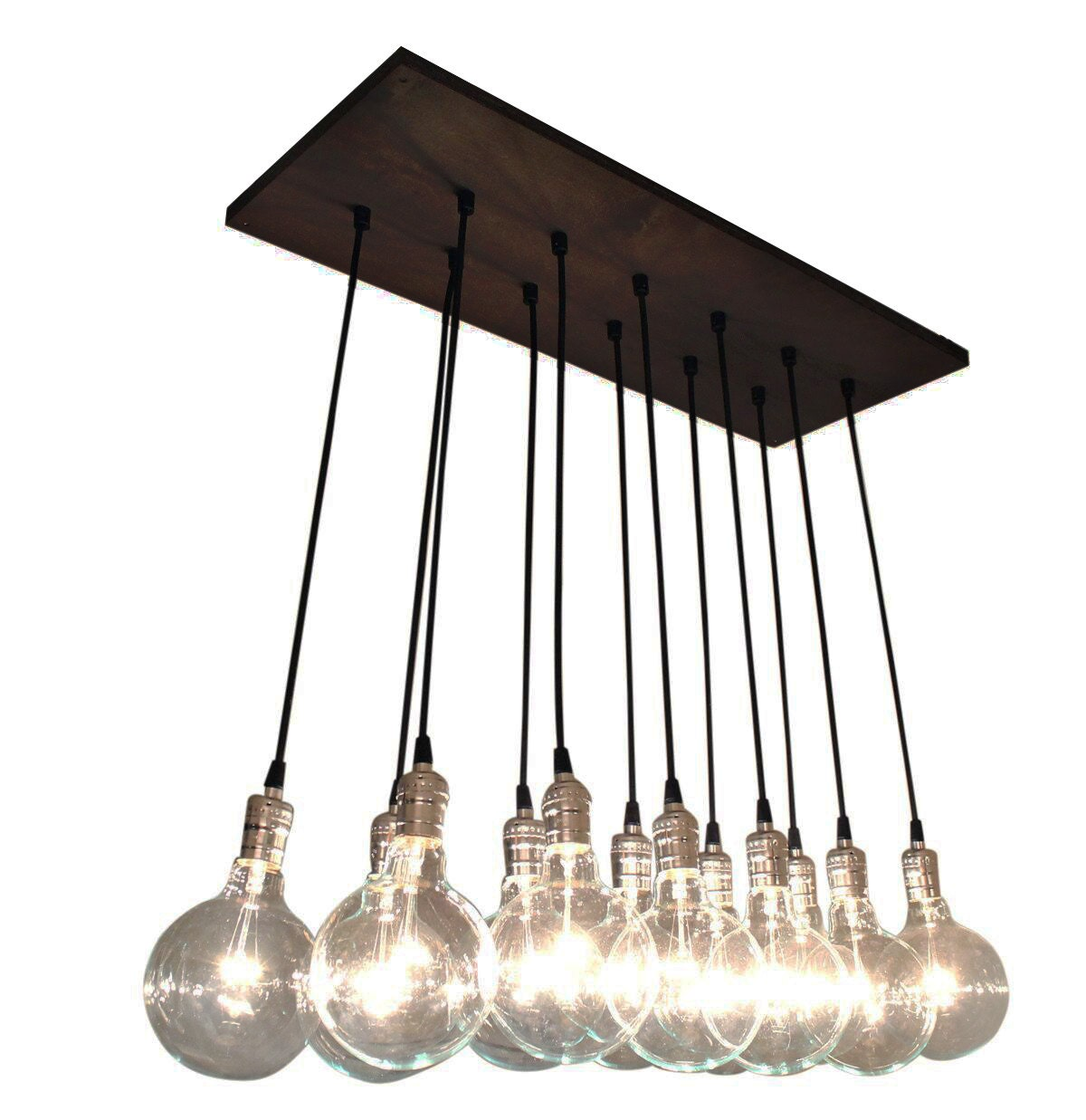 Urban chic chandelier with exposed bulbs kitchen lighting zoom arubaitofo Gallery