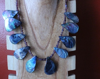 Purple Sea Glass and Shell Necklace