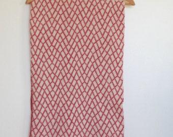 Shawl / Wrap Stone Wall Pattern Pink Merino Lambswool Scarf
