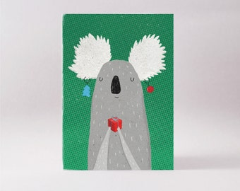 Christmas koala card - Australian blank greeting card