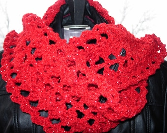 Metallic Scarf Red and Lurex.  Hand Crocheted