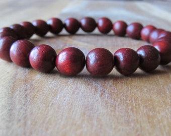 Rosewood Bracelet, Wood Bracelet, Wrist Mala, Yoga Bracelet, Energy Bracelet, Meditation Bracelet, Red Mens Bracelet, Gift for Men