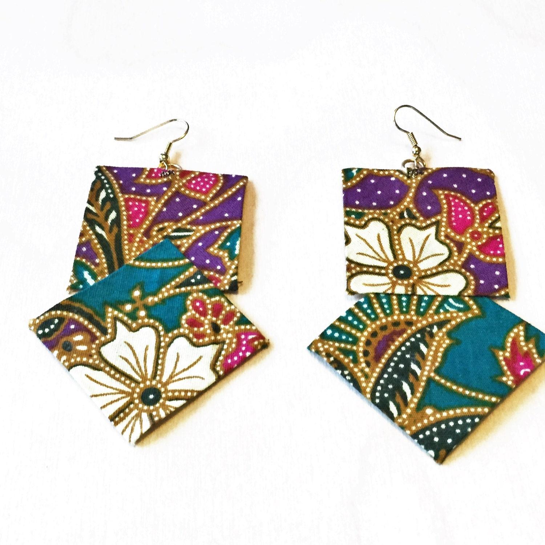 Malaysia-Fabric earrings-Handmade-Malaysian batik