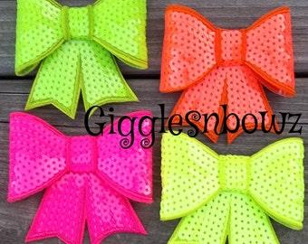 Large Sequin Bows - Set of FOUR - Wholesale Sequin Bows - NEON - Bow Knot Applique - Sequin bow headband - Clip Sequin Bow - Large Bows
