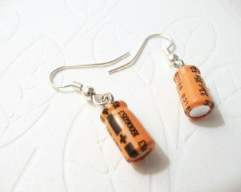 Geek Earrings, Small Recycled Capacitors, Orange Black, new computer parts, electronic components, Geek Sheek Jewelry