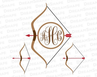 Archery SVG Files, Bow And Arrow SVG File, Archery Monogram Svg Cut Files, Hunting Archery Cutting File Svg, SVG Files Instant Download