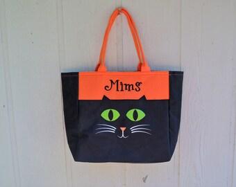 Trick or Treat bag, Black Cat Halloween bag FREE MONOGRAMMING