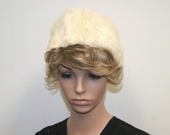 Vintage 1950's White Rabbit Fur Cloche Hat