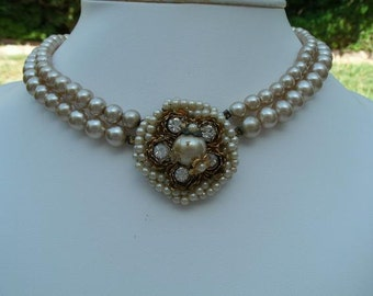 Vintage Beige/Ivory Faux Pearl Double Strand Choker Necklace with Pearl and RS Pendant