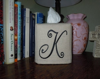 "Monogrammed Essex Natural Linen Tissue Box Cover -  Curly ""K""  Made To Order"