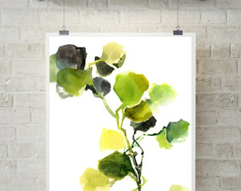 Green Leaves Eco Style Art Print, watercolor painting print, fine art print, white background, modern green wall print