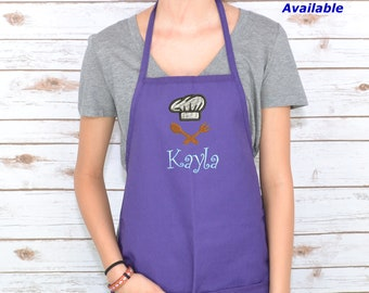 Personalized Kids Apron with Chef Hat Embroidery Design