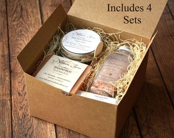 Gift for Women - 4 Personalized Gift Sets for Women - Gift for Mom - Bridesmaid Gift - Natural Bath Gift Set - Spa Gift Set - Gift for Her