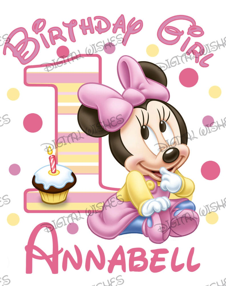 Baby Minnie Mouse 1st Birthday Image PERSONALIZED name digital