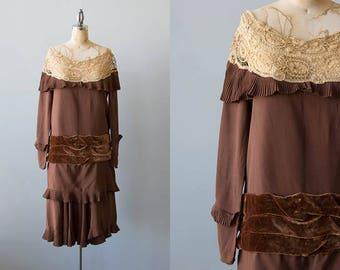 Swiss Mocha dress | 1920s brown silk and velvet dress with lace collar | Vintage 1920s drop waist dress