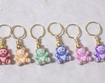 no snag knitting stitch markers, rainbow teddy bear beads, set of 6