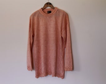 Vintage Peach Coral Sweater | Knit Pullover | Oversized sweater | Loose Fit Jumper