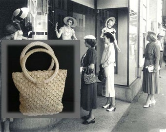 Vintage Ivory Woven Straw Purse by Ritter with Circular Handles and Top Zipper, Made in Japan, Circa 1950s