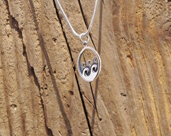 Sterling Silver Ocean Sea Wave Charm Surf Necklace Nautical Beach Adventure