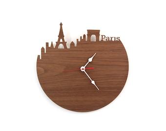 Walnut Paris Clock - Eiffel Tower, Arc de Triomphe, Modern Wall Clock - Large Clock - Wood Clock