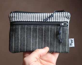 vegan wallet stripes / wallet mens / minimalist coin purse / women