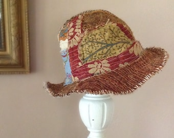 Artsy Bohemian Hat in Earthy Colors One of a Kind Upcycled