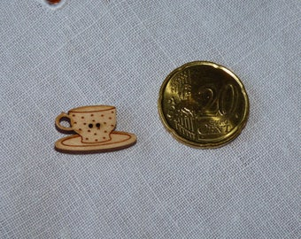 Wood Cup button in the polka dots