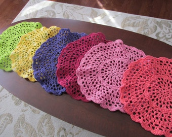 Rainbow Pace Mats, Set of 6; Crocheted Place Mats; Set of 6 crocheted place mats in a rainbow of colors; Crocheted Lacy Place Mats;
