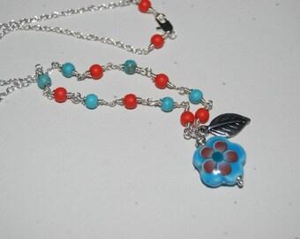 Artistic Wire Wrap Style Blue Red Flower Little Girl Bracelet