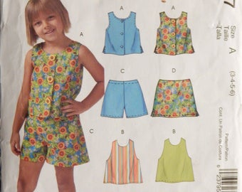 Girls' Tops, Shorts and Skort Pattern (Easy Stitch and Save by McCalls M4747) Size A (3,4,5,6)