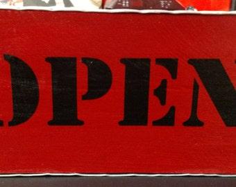 "Handmade ""Open Closed"" custom made sign"