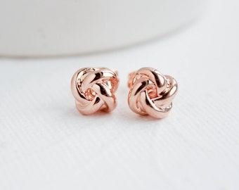 Rose Gold Knot Earrings, Knot Earrings, Rose Gold Studs, Bridal Earrings, Rose Gold Earrings, Everyday Earrings, Bridesmaid Earrings